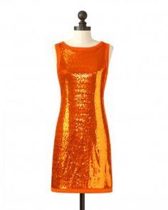 orange sequin dress