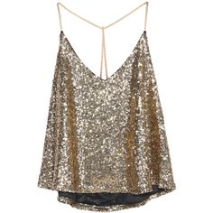 Gold Criss Cross Sequined Cami Top (19 CAD) ❤ liked on Polyvore featuring tops, shirts, blusas, tank tops, tanks, gold, brown vest, gold tank top, brown tank top and brown shirt