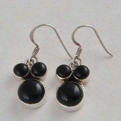 BLACK ONYX 925 SOLID STERLING SILVER STONE EARRING 5.09g ER0705 #Handmade #EARRING