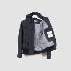 Librarian charcoal hooded jacket by Bridge & Burn