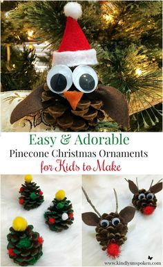 Easy + Adorable Kids Pinecone Christmas Ornaments - These adorable pinecone christmas ornaments are so easy to create and the perfect craft to make with your kids this year! Preschool Christmas, Christmas Crafts For Kids, Holiday Crafts, Christmas Diy, Christmas Trees, Pine Cone Christmas Decorations, Easy Christmas Ornaments, Pinecone Ornaments, Pinecone Decor