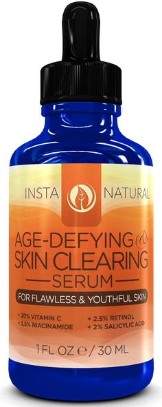 Vitamin C Serum 20% with Retinol 2.5%, Salicylic Acid 2%, Hyaluronic Acid, Niacinamide, Tea Tree Oil and MSM - Anti Aging AND Skin Clearing Serum for Face, Acne & Blemishes - Best For Men and Women For All Skin Types - Also Reduces Appearance of Fine Lines, Winkles, Sun Spots, Age Spots, & Skin Discoloration