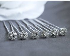 6 pcs Rhinestone Bridal Hair Pin Wedding Jewelry Crystal Bobby Hairpin Clip Accessories Silver HP035LX