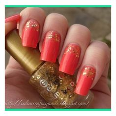 Coral nails with gold sparkles ❤ liked on Polyvore