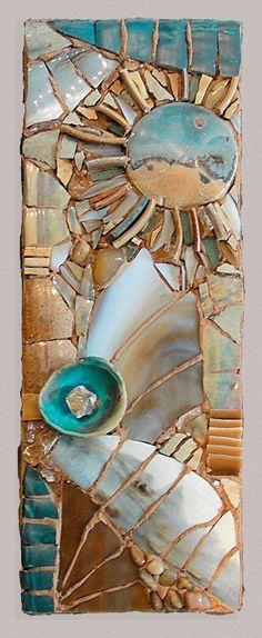 Would look great in hallway! This mosaic reminds me of desert oasis dreams. Mosaic Diy, Mosaic Crafts, Mosaic Wall, Mosaic Glass, Mosaic Tiles, Mosaics, Mosaic Mirrors, Mosaic Designs, Mosaic Patterns
