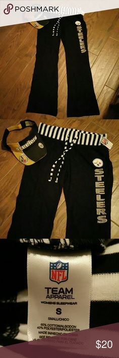 NWT - Steelers Lounge Pants Football is around the corner so support your Steelers team wearing these new lounge pants/pajama pants. Light weight and perfect for just hanging in the house watching the game. NWT Visor not for sale. NFL Team Apparel  Intimates & Sleepwear