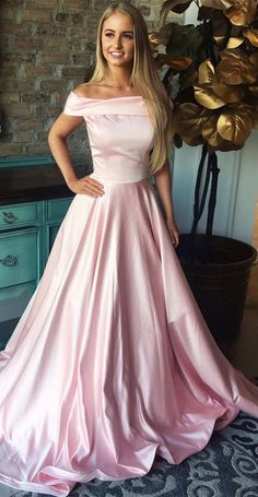 2019 Princess Prom Dresses Long, Pink Prom Dresses With Cap Sleeves, Beautiful Prom Dresses With Pockets, Satin Prom Dresses Off The Shoulder Prom Dresses Long Pink, Prom Dresses With Pockets, Princess Prom Dresses, Prom Dresses For Teens, Beautiful Prom Dresses, Prom Dresses Online, Formal Evening Dresses, Sexy Dresses, Strapless Dress Formal