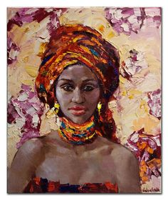 African woman portrait painting Original oil by ValArtGallery
