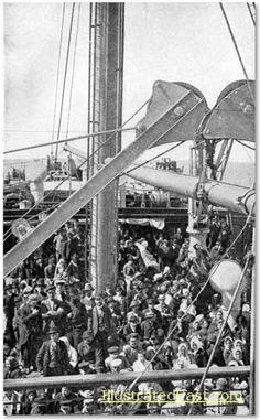Ellis Island Immigrants | Photograph of a ship crowded with immigrants coming to America.