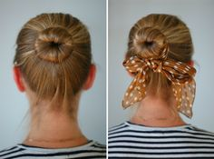 "DIY: ""Sock Bun"" tutorial to increase volume of bun for fine or short hair. Step-by-step, photo directions. Just cut a sock in a color close to your own hair color or highlights, pull your ponytail through, wrap, pin and go! Perfect for hot summer days!"