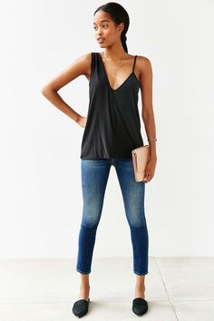 Silence + Noise One-Shoulder Surplice Tank Top - Urban Outfitters