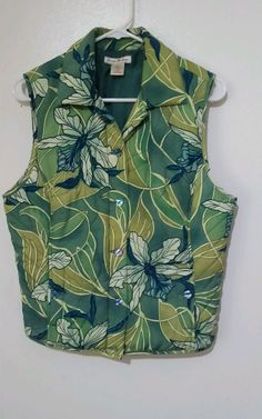 Tommy Bahama 100% Silk Womens Floral Quilted  Vest Sz L (12-14) #TommyBahama