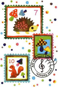 Postcrossing colourfull stamps postcard