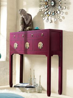 decoration interieure tendance printemps ete 2011 color block commode violette