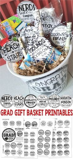 graduation gifts # graduation # graduation party GRADUATION Gift Tag Kit PRINTABLE My Computer is My Canvas You are in the right place about DIY Graduation sash Here we offer you the most beautiful pi Best Graduation Gifts, Graduation Diy, Graduation Celebration, Grad Gifts, Teacher Gifts, Graduation Gift Baskets, Diy Gifts, Nursing Graduation, Making A Gift Basket