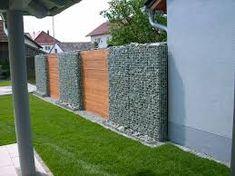 MAUER AUS STEINEN UND GLAS - Google-Suche Gabion Fence, House Ideas, Exterior Design, Sidewalk, Stone, Nuevas Ideas, Google, Garden, Patio Design