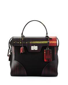 Prada Tessuto & Saffiano Print Satchel Bag Red #bags