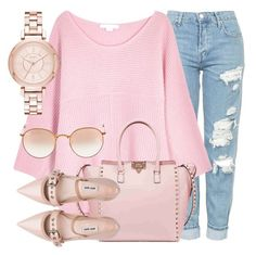 """""""Pink Soul"""" by jomashop ❤ liked on Polyvore featuring Topshop, Duffy, Valentino, Miu Miu, DKNY, Ray-Ban and Pink"""
