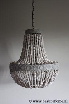 Sfeervolle Sobere Hanglamp Landelijke Kralen Kroonluchter Oud Wit