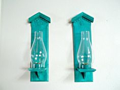 Wall Sconces/ Pair / Distressed / Turquoise / by paintingwhimsy, $24.00