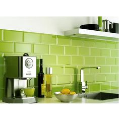 Pinned is a picture of a 20x10cm Lime Green Brick Effect Wall Tile, within this range we also stock different colours for example white, black, cream