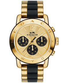Sporty yet elegant, the Legacy features a gold-toned case and three subdials displaying the day, date and 24-hour time. Its water-resistant, highly accurate design was created exclusively for Coach by
