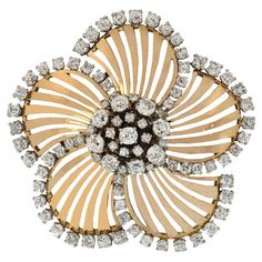 Retro Diamond Gold Fan Brooch | From a unique collection of vintage brooches at http://www.1stdibs.com/jewelry/brooches/brooches/