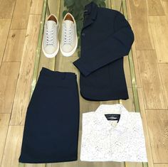 Sale outfit table featuring Number 288 Prince Grey, Cadet Jacket Memtec, Cigarette Trouser Memtec and Isis Shirt Galassia White.