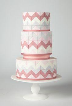 Brides: America's Prettiest Wedding Cakes | Pink Chevron-Striped Wedding Cake | Cake by AK