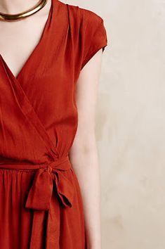 Beautiful color and fabric. Wrap dresses are so classic.