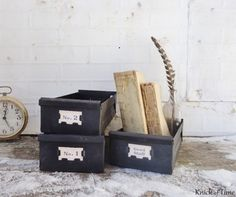 Industrial Metal Drawer - Vintage Card Catalog Drawer available from KnickofTime
