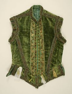 Doublet Date: ca. 1580 Culture: European Medium: silk, metallic thread, brass Dimensions: Length at CB: 22 in. cm) Credit Line: Catherine Breyer Van Bomel Foundation Fund, 1978 Accession Number: This artwork is not on display Costume Renaissance, Renaissance Clothing, Renaissance Fashion, 16th Century Clothing, 16th Century Fashion, 17th Century, Clothing And Textile, Antique Clothing, Gypsy Clothing