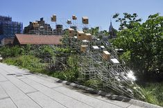 "Sarah Sze, ""Still Life with Landscape (Model for a Habitat)"" 2011, stainless steel, wood, 9' x 22' x 21' (Highline, NYC)"