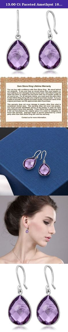 13.00 Ct Faceted Amethyst 16X12MM Pear Shape 925 Sterling Silver Dangle Earrings. This beautiful item is brand new and comes with complimentary gift packaging appropriately selected to match the item you purchased. The packaging ranges from dainty foam insert packaging to luxurious leather insert cherry wood boxes. Every order is fully insured regardless of value. This insurance protects you against damage or the loss of your item while in transit. The Shipping and Handling fees include…