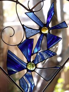 Blue Stained Glass Flower Duo In A  Heart Shaped by newmoonglass, $45.00