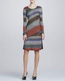 Long-Sleeve Lace Weave Dress, Womens -- Neiman Marcus