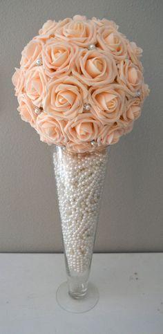 10 Pink Blush Bling Pearl Brooch Elegant Wedding by KimeeKouture
