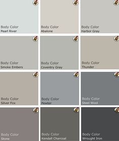 Recommended palette of gray Benjamin Moore Paints from interview on Design Crisis #gray #paintcolor