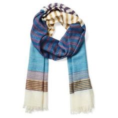 Check out this item at One Kings Lane! Wool/Silk Stripe Scarf, Blue