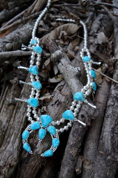 ∆∆∇∇ elementality   unique jewelry + clothing   one of our seriously stunning, kingman turquoise, navajo squash blossom necklaces