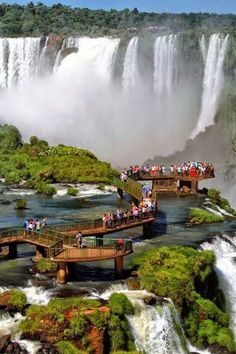 Iguazu Waterfalls- border between Brazil and Argentina, boat rides, nearby hotels and spas Beautiful Places In The World, Places Around The World, The Places Youll Go, Travel Around The World, Wonderful Places, Places To Visit, Iguazu Waterfalls, Brazil Travel, Wanderlust