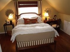 My bedroom, with a DIY boxspring cover. #diy