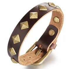 Vintage golden rivet pants belt buckle bracelet Rock style wide genuine stingray leather punk bracelet men jewelry wholesale