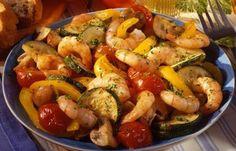 Kohlenhydratarme Rezepte - Scampi-Gemüse-Pfanne