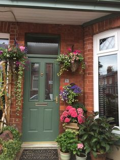 Front door farrow and ball green smoke Colonial Front Door, Cottage Front Doors, Victorian Front Doors, Green Front Doors, Wooden Front Doors, House Front Door, Painted Front Doors, Front Door Colors, Rustic Doors