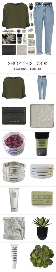 """""""YOU USE YOUR HEART AS A FORTRESS"""" by nxstalgia ❤ liked on Polyvore featuring Topshop, River Island, Burberry, Anna Sui, Smashbox, Caravan, Polaroid, Laura Mercier, Branche d'Olive and MILK MAKEUP"""