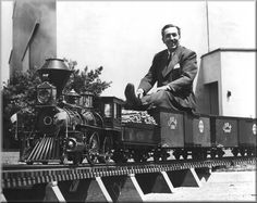 Walt Disney's Trains. Who ever said it was wrong to love trains was crazy! Walt was amazing and even as an adult played with them. Old Disney, Disney Love, Disney Magic, Disney Mickey, Disney Stuff, Mickey Mouse, Disney Theme, Disney Quotes To Live By, Walt Disney Quotes
