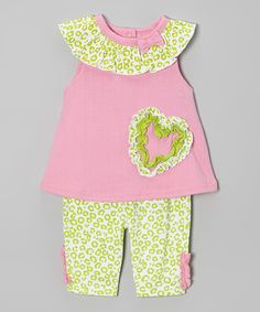 Look at this #zulilyfind! Weeplay Kids Pink & Lime Heart Tunic & Pants - Infant by Weeplay Kids #zulilyfinds