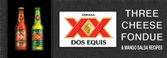 Three cheese fondue and mango salsa recipes with Dos Equis beer on the Big Green Egg