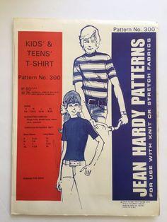 Vintage Jean Hardy Sewing Pattern 300 Kids & Teens T Shirt Uncut 1972 Size S-XL #JeanHardyPatterns #TShirt